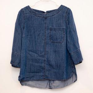 Soft Surroundings Denim 3/4 Sleeve Shirt W/Pocket